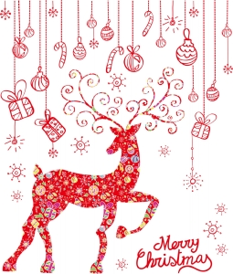 Sticker Craciun - Merry Christmas! - globuri si cadouri0