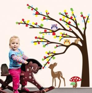 Sticker de perete camera copilului - Caprioara in padure3