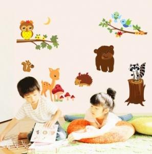 Autocolant de perete camere copii - Animalele padurii0
