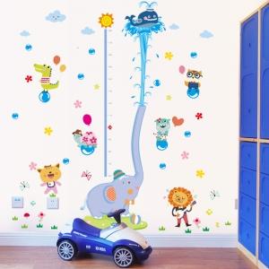 Sticker de perete camere copii - Grafic de crestere cu animale- masurator inaltime0