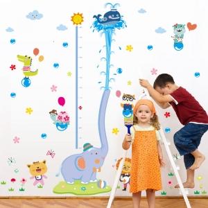 Sticker de perete camere copii - Grafic de crestere cu animale- masurator inaltime1