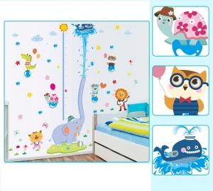 Sticker de perete camere copii - Grafic de crestere cu animale- masurator inaltime4