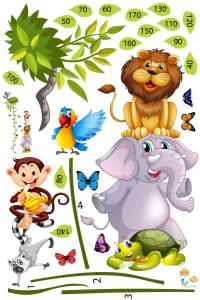 Sticker Grafic de crestere cu animale si fluturi - masurator inaltime - 90x170 cm1