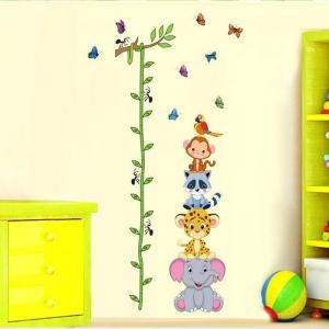 Sticker de perete copii - Grafic de crestere cu animale si fluturi - masurator inaltime0