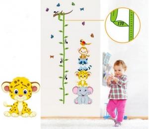 Sticker de perete copii - Grafic de crestere cu animale si fluturi - masurator inaltime6