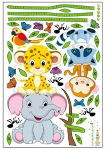 Sticker de perete copii - Grafic de crestere cu animale si fluturi - masurator inaltime5