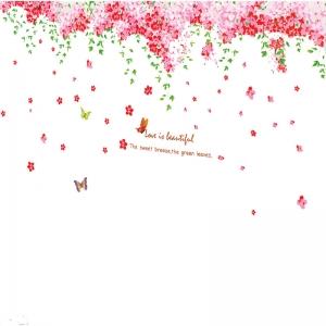 Sticker decorare camera - Flori de cires roz si fluturi7