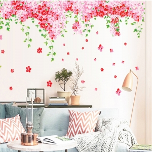 Sticker decorare camera - Flori de cires roz si fluturi1
