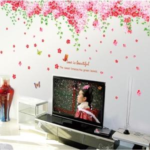 Sticker decorare camera - Flori de cires roz si fluturi4