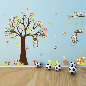 Sticker decorare camere bebelusi - Maimute si bufnite in copaci0