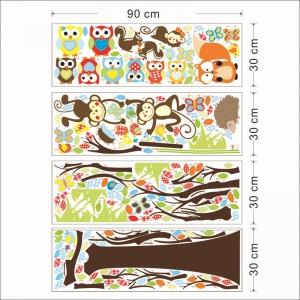 Sticker decorare camere bebelusi - Maimute si bufnite in copaci2