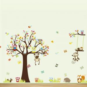 Sticker decorare camere bebelusi - Maimute si bufnite in copaci1