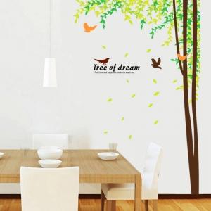 Sticker decorativ camera de zi - Padure si pasari0