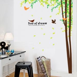 Sticker decorativ camera de zi - Padure si pasari1