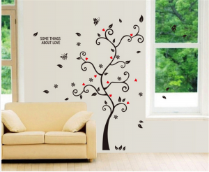 Sticker decorativ - Copac cu frunze si inimioare1
