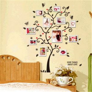 Sticker decorativ - Copac cu frunze si inimioare2