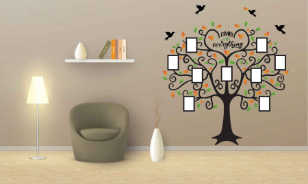 Sticker decorativ - Copac cu rame foto - Family is everything [3]
