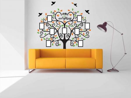 Sticker decorativ - Copac cu rame foto - Family is everything [1]