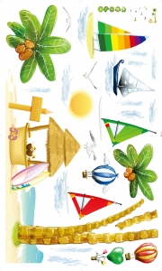 Sticker decorativ copii - Barcute langa insula6
