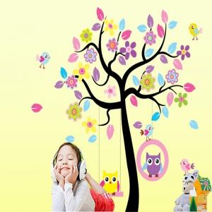 Sticker decorativ copii - Bufnite in leagan1