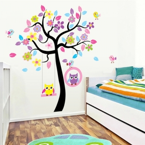 Sticker decorativ copii - Bufnite in leagan2