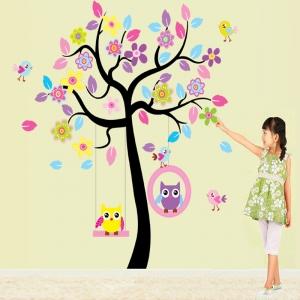 Sticker decorativ copii - Bufnite in leagan3