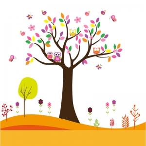 Sticker decorativ copii - Copacelul roz3