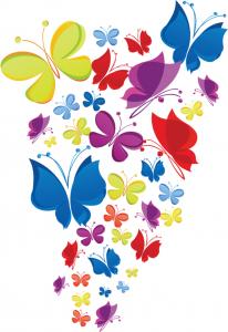 Sticker decorativ copii - Curcubeu de fluturasi2