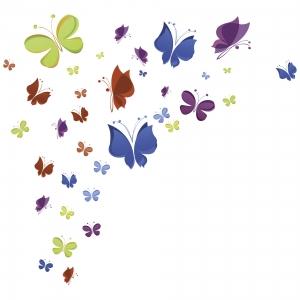 Sticker decorativ copii - Curcubeu de fluturasi4