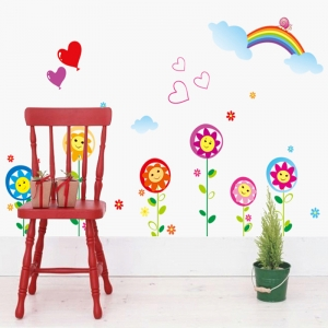 Sticker decorativ copii - Floricele sub curcubeu3