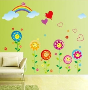 Sticker decorativ copii - Floricele sub curcubeu4