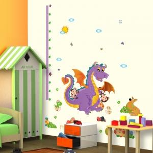 Sticker decorativ copii - Grafic de crestere dragonul prietenos - masurator inaltime0