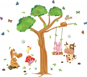Sticker decorativ copii - Joaca in padure2