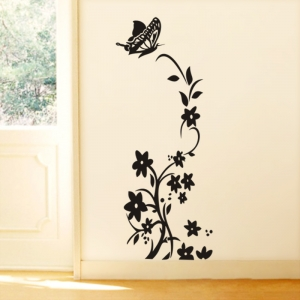 Sticker decorativ frigider - Flori si fluturi0