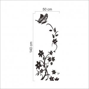 Sticker decorativ frigider - Flori si fluturi5