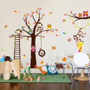 Sticker decorativ - Maimute in copaci, elefant si girafa3