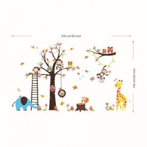 Sticker decorativ - Maimute in copaci, elefant si girafa4