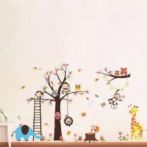 Sticker decorativ - Maimute in copaci, elefant si girafa1