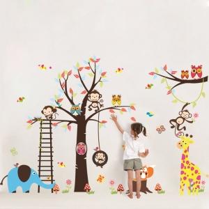 Sticker decorativ - Maimute in copaci, elefant si girafa0