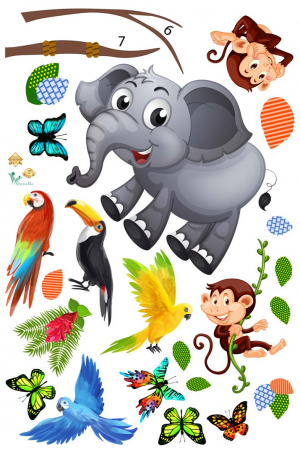 Sticker decorativ - Maimute in copaci, elefant si girafa - 230x140 cm2