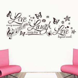 Sticker decorativ motivational - Text, flori, fluturi, muzica0
