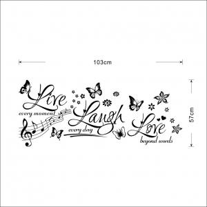 Sticker decorativ motivational - Text, flori, fluturi, muzica3