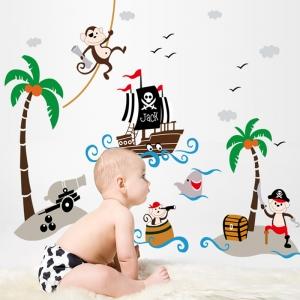 Sticker decorativ pentru baieti - Piratii naufragiati3