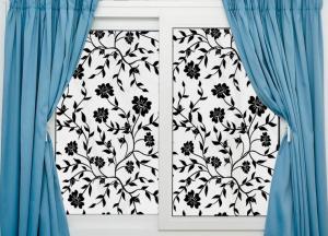 Sticker decorativ pentru geamuri  - Model floral - efect geam sablat - 90 cm latime1