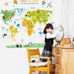Sticker educativ - Harta animata a lumii pentru copii0