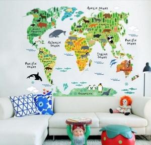 Sticker educativ pentru copii - Harta lumii pentru copii0