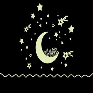 Sticker fosforescent - Luna si stele2