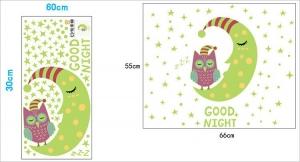 Sticker fosforescent - Luna si bufnita - 66x55 cm6