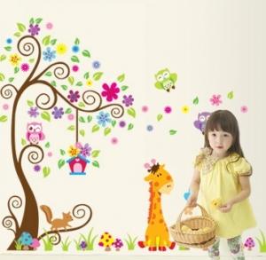 Sticker gigant de perete pentru copii - Copacel si animale diverse3
