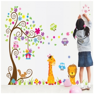 Sticker gigant de perete pentru copii - Copacel si animale diverse2